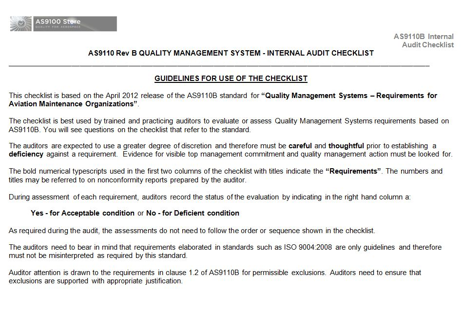 AS9110B Internal Auditor Checklist